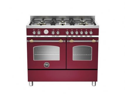100cm Bertazzoni Heritage 6 burners and 2 electric ovens in Burgundy HER100-6-MFE-D-VIT